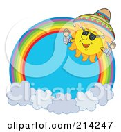 Royalty Free RF Clipart Illustration Of A Mexican Summer Sun Rainbow Circle