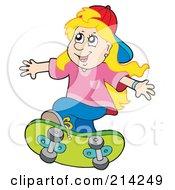 Royalty Free RF Clipart Illustration Of A Little Girl Skateboarding