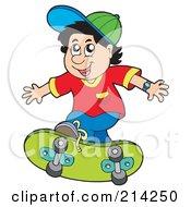 Royalty Free RF Clipart Illustration Of A Little Boy Skateboarding