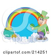 Royalty Free RF Clipart Illustration Of A Leprechaun Pot Of Gold And Rainbow by visekart
