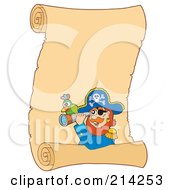 Royalty Free RF Clipart Illustration Of A Pirate Parrot And Telescope On A Blank Parchment Scroll