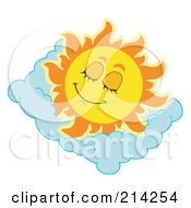 Royalty Free RF Clipart Illustration Of A Summer Sun Sleeping On A Cloud Pillow