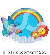 Royalty Free RF Clipart Illustration Of A Butterfly And Flowers Near A Rainbow In The Sky
