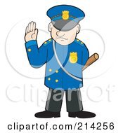 Royalty Free RF Clipart Illustration Of A Police Man Gesturing To Stop