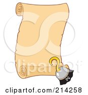 Royalty Free RF Clipart Illustration Of A Pirate Hook Hand By A Blank Scroll