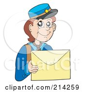 Royalty Free RF Clipart Illustration Of A Mail Man Carrying A Letter by visekart