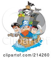 Captain Pirate And Crew On His Ship by visekart