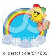 Royalty Free RF Clipart Illustration Of A Traveling Summer Sun Rainbow Circle
