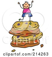 Royalty Free RF Clipart Illustration Of A Childs Sketch Of A Boy On A Stack Of Cookies
