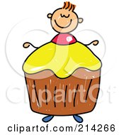 Royalty Free RF Clipart Illustration Of A Childs Sketch Of A Boy With A Cupcake Body by Prawny