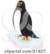 Clipart Illustration Of A Happy Black And White Penguin Resting On A Block Of Floating Ice In The Arctic