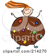 Royalty Free RF Clipart Illustration Of A Childs Sketch Of A Girl With A Cookie Body by Prawny