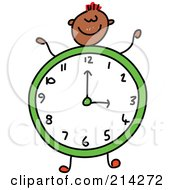 Royalty Free RF Clipart Illustration Of A Childs Sketch Of A Boy With A Clock Body by Prawny