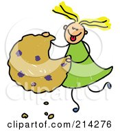 Royalty Free RF Clipart Illustration Of A Childs Sketch Of A Girl Eating A Giant Cookie by Prawny