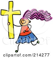 Royalty Free RF Clipart Illustration Of A Childs Sketch Of A Christian Girl