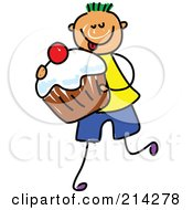 Royalty Free RF Clipart Illustration Of A Childs Sketch Of A Boy Carrying A Cupcake by Prawny