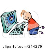 Childs Sketch Of A Boy Using A Computer