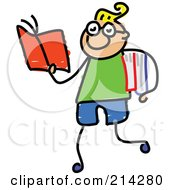 Royalty Free RF Clipart Illustration Of A Childs Sketch Of Smart Boy Walking And Reading by Prawny