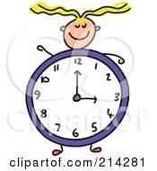 Royalty Free RF Clipart Illustration Of A Childs Sketch Of A Girl With A Clock Body by Prawny
