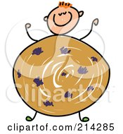 Royalty Free RF Clipart Illustration Of A Childs Sketch Of A Boy With A Cookie Body by Prawny
