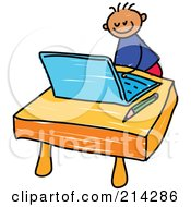 Royalty Free RF Clipart Illustration Of A Childs Sketch Of A Boy Using A Laptop by Prawny