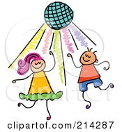 Royalty Free RF Clipart Illustration Of A Childs Sketch Of Kids Dancing Under A Disco Ball