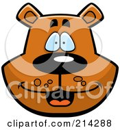 Royalty Free RF Clipart Illustration Of A Happy Bear Face by Cory Thoman
