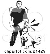 Clipart Illustration Of A Guard Dog In Training Attacking The Padded Arm Of A Trainer Man On A White Background by David Rey