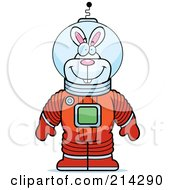 Royalty Free RF Clipart Illustration Of A Standing Astronaut Rabbit In A Space Suit by Cory Thoman