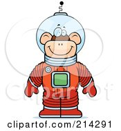 Royalty Free RF Clipart Illustration Of A Standing Astronaut Monkey In A Space Suit by Cory Thoman