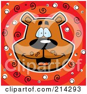 Royalty Free RF Clipart Illustration Of A Happy Bear Head Over Red And Orange With Spirals