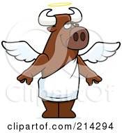 Royalty Free RF Clipart Illustration Of A Standing Cartoon Angel Bull by Cory Thoman