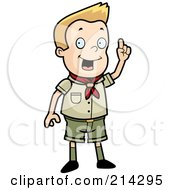 Royalty Free RF Clipart Illustration Of A Scout Boy Standing And Holding Up A Finger