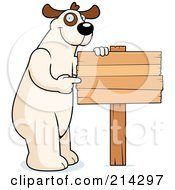 Royalty Free RF Clipart Illustration Of A Big Dog Standing On His Hind Legs And Pointing To A Wood Sign