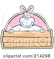 Big White Rabbit Smiling Over A Blank Wooden Sign