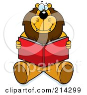 Royalty Free RF Clipart Illustration Of A Happy Big Lion Sitting And Reading A Book by Cory Thoman