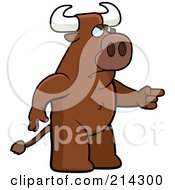 Royalty Free RF Clipart Illustration Of An Angry Bull Pointing To The Right by Cory Thoman
