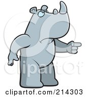 Royalty Free RF Clipart Illustration Of An Angry Rhino Pointing To The Right