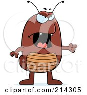 Royalty Free RF Clipart Illustration Of An Angry Flea Pointing To The Right