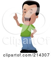 Royalty Free RF Clipart Illustration Of A Hispanic Boy Standing And Holding Up A Finger