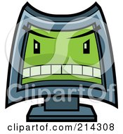 Royalty Free RF Clipart Illustration Of A Mean Computer With A Green Evil Face by Cory Thoman