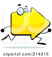 Royalty Free RF Clipart Illustration Of A Yellow Arrow Character Running by Cory Thoman