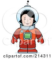 Royalty Free RF Clipart Illustration Of A Standing Astronaut Woman In A Space Suit by Cory Thoman