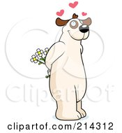Royalty Free RF Clipart Illustration Of A Big Dog Standing On His Hind Legs And Holding Flowers Behind His Back