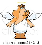 Royalty Free RF Clipart Illustration Of A Standing Cartoon Angel Cat by Cory Thoman