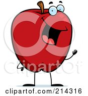 Royalty Free RF Clipart Illustration Of A Waving Red Apple Guy by Cory Thoman