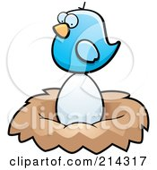Royalty Free RF Clipart Illustration Of A Tiny Blue Bird Sitting On A Large Egg In A Nest by Cory Thoman