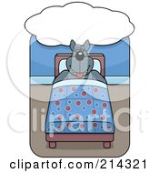 Royalty Free RF Clipart Illustration Of A Big Wolf Sleeping In A Bed Under A Dream Cloud by Cory Thoman
