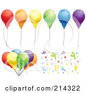 Royalty Free RF Clipart Illustration Of A Digital Collage Of Colorful Party Balloons A Bundle And Confetti by Cory Thoman