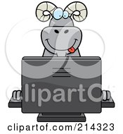 Royalty Free RF Clipart Illustration Of A Big Ram Smiling And Using A Computer by Cory Thoman